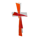 Glaskreuz modern transparent - orange - rot Handarbeit 21 x 11 cm Schmuckkreuz