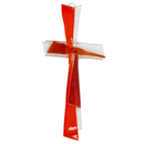 Glaskreuz modern rot orange transparent 25 x 12 cm...