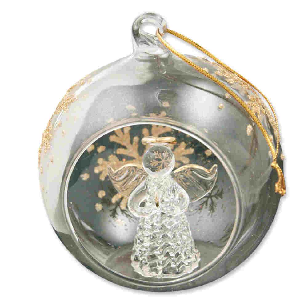Ikea Weihnachten Christbaumkugel Dekokugel Aus Glas Gold: Weihnachtliche Fensterkugel Engel Gold Bemalt